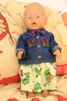 Nähen to Sew Baby Born Kleidchen Kleid Hose Jeans  Jeansjacke Jeanshose Sticken Schnittmuster Schneiden Kleider my first Annabell  Zapf Creation Neu Neuheiten Chou Chou  Puppenkleidung  Puppenbaby Götz Emil Schwenk